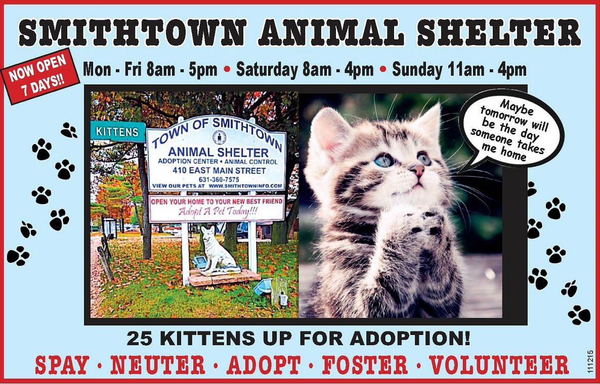 smithtown animal shlter hours